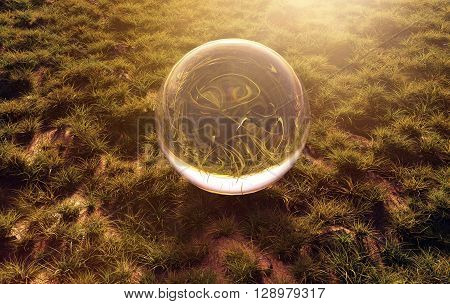 3d rendering of crystal ball on green grass in the morning sunshine light