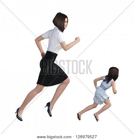 Mother Daughter Interaction of Running Together as an Concept 3D Illustration Render