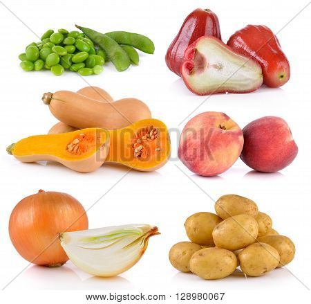 onion Peach potato rose apple butternut squash soy beans on white background