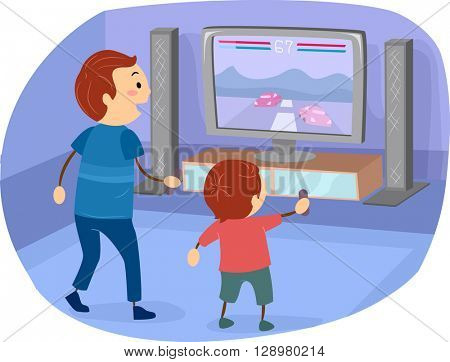 Stickman Illustration of a Father Playing a Video Game with His Son