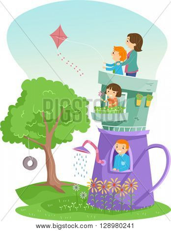 Stickman Illustration of a Family Living in a Teapot House