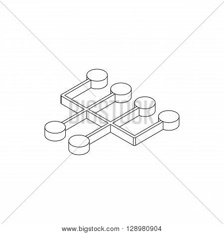 Transmission icon in isometric 3d style isolated on white background. Circle buttons