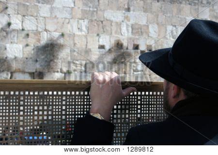 Man Looking At The Western Wall, Jerusalem Israel