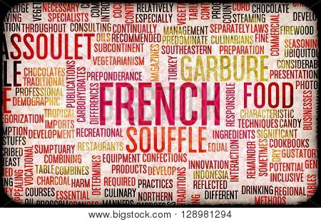 French Food and Cuisine Menu Background with Local Dishes