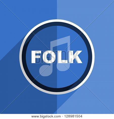 flat design blue folk music web modern icon