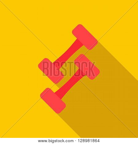 Pair of dumbbells icon in flat style on a yellow background