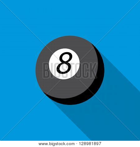 Snooker 8 pool icon in flat style on a blue background
