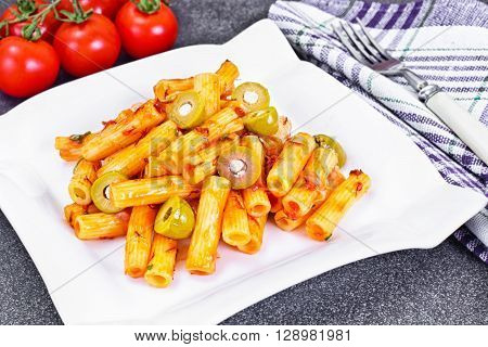 Tortellini, Pasna Penne with Ketchup and Green Olives Studio Photo