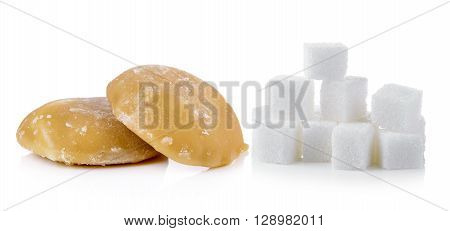 palm sugar and sugar on wghite background