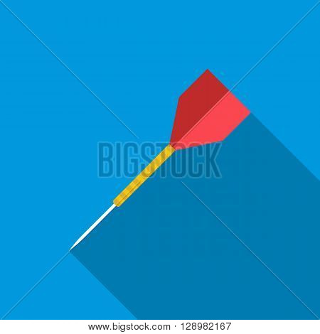 Dart arrow icon in flat style on a blue background
