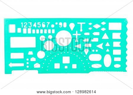 Green plastic stencil isolated on white background ** Note: Soft Focus at 100%, best at smaller sizes