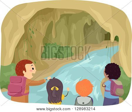 Stickman Illustration of Kids Exploring a Cave
