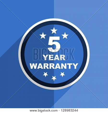 flat design blue warranty guarantee 5 year web modern icon