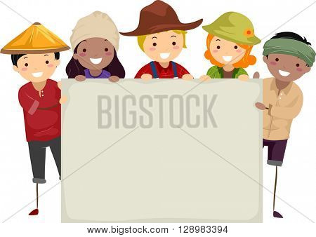 Stickman Illustration of Farmers Holding a Blank Board