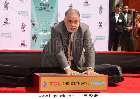 LOS ANGELES - APR 29:  Francis Ford Coppola at the Francis Ford Coppola Hand and Foot Print Ceremony at the TCL Chinese Theater IMAX on April 29, 2016 in Los Angeles, CA