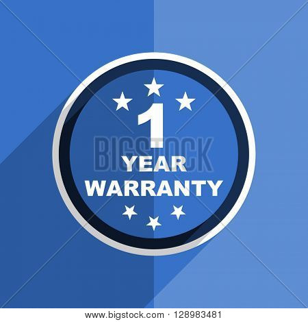 flat design blue warranty guarantee 1 year web modern icon