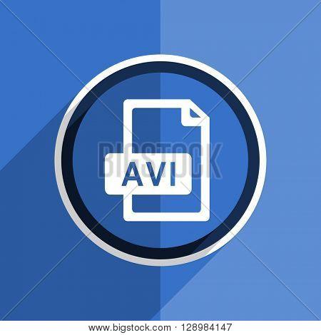 flat design blue avi file web modern icon