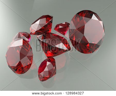 3D render of different gemstones. Close up