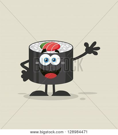 Happy Sushi Roll Cartoon Mascot Character Waving. Illustration Flat Style With Background