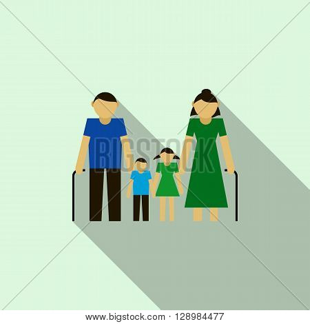 Grandparents with their grandchildren icon in flat style on a light blue background