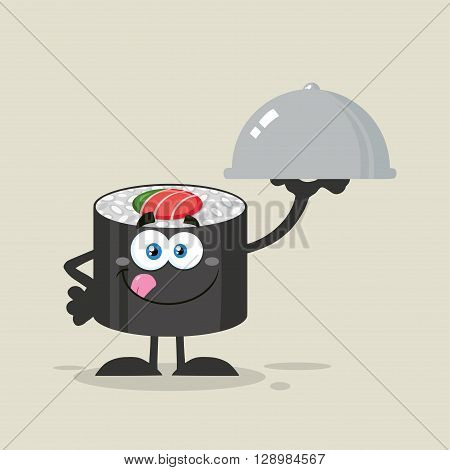 Sushi Roll Cartoon Character Licking His Lips And Holding A Cloche Platter. Illustration Flat Style With Background