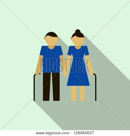 Grandparents icon in flat style on a light blue background