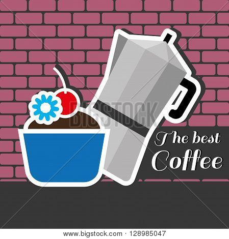 A silver metal jar of coffee with a blue cake with red cherry on top and best coffee inscription in outlines over a pink background with bricks digital vector image