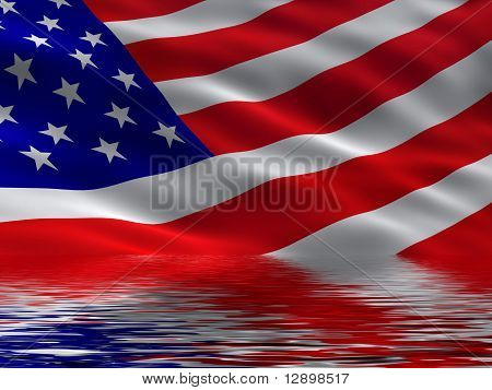 America flag with reflection
