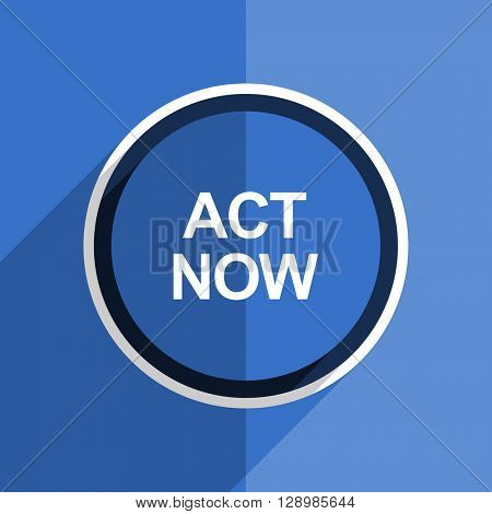 flat design blue act now web modern icon
