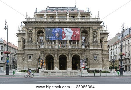 BUDAPEST HUNGARY - JULY 13: Hungarian State Opera House in Budapest on JULY 13 2015. Neo Renaissance Opera House Historic Building in Budapest Hungary.