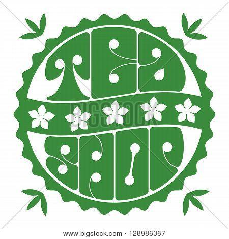 Tea shop. Jasmine Green tea room logo. Organic hot drink label design. Green tea leaves isolated. Jasmine flower. Herbal Tea shop emblem isolated concept. Vector illustration