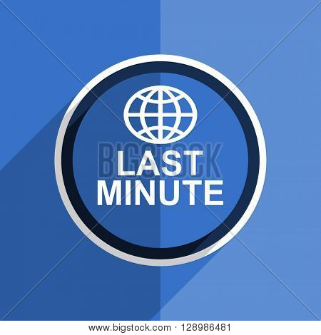 flat design blue last minute web modern icon