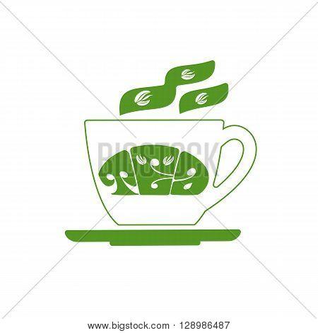 Tea cup.Green tea room logo. Organic hot drink label design. Green tea leaves isolated. Tea room emblem isolated concept. Vector illustration