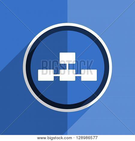 flat design blue database web modern icon