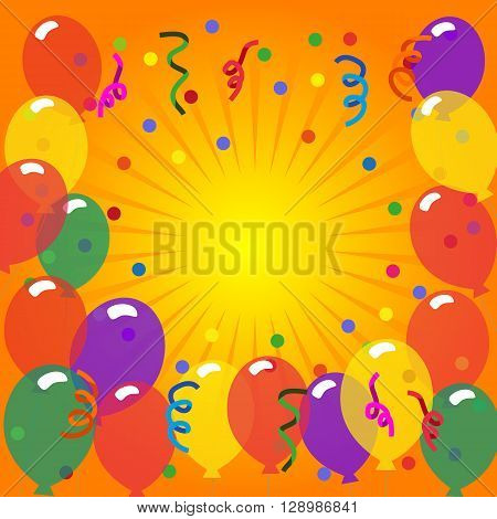 Happy Party Poster. Funny style. Idea for banner to birthday carnival happy event celebration background. Entertainment decoration to celebrate masquerade festival holiday. Vector illustration.