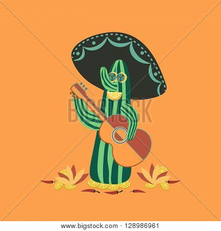Mexican style. Fancy Cactus Mariachi. Fiesta background concept. Mexican food Chili pepper lime guitar sombrero. Holiday Cinco de Mayo. Party banner background. Vector Illustration