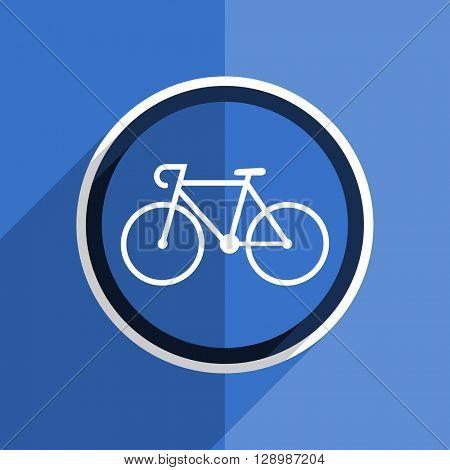 flat design blue bicycle web modern icon