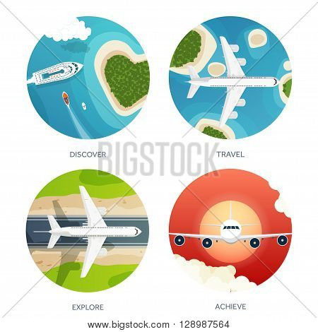 Vector illustration. Travel and tourism. Airplane, aviation. Summer holidays, vacation. Plane landing. Flight, air traveling.  Sky, aerial, tropical background. Journey.  Island, sea, boats.