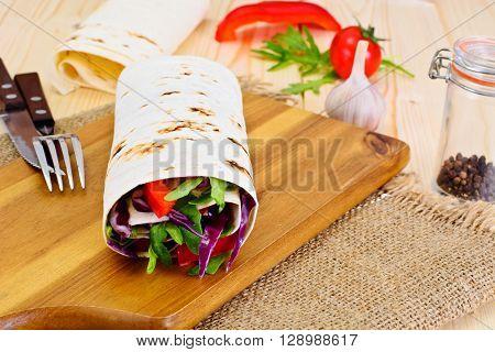 Shawarma Lavash with Chicken and Vegetables Studio Photo
