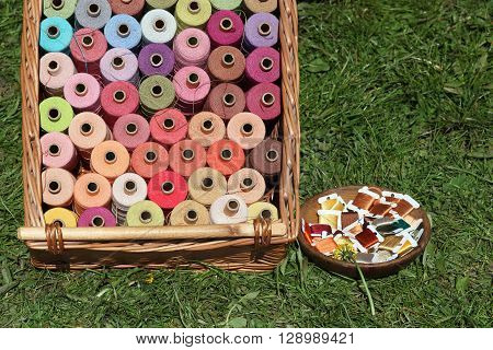 Presentation of colorful spools of thread for sewing