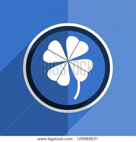 flat design blue four-leaf clover web modern icon