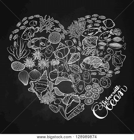 Ocean flora and fauna in the shape of heart. Fish, seashells, seaweed and corals drawn in line art style on chalkbord.