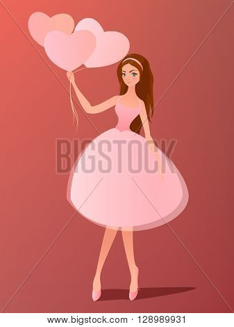 Vector illustration. Cute girl with heart balloons. Cartoon character.