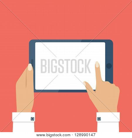 Female hands holding tablet computer touch screen. Tablet in woman hands. Woman hold tablet. Blank tablet screen. Touch screen of tablet. Vector illustration flat design style.