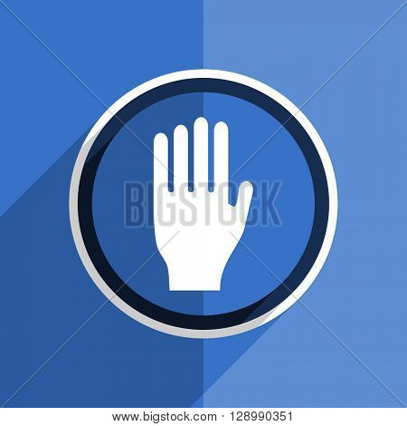 flat design blue stop web modern icon