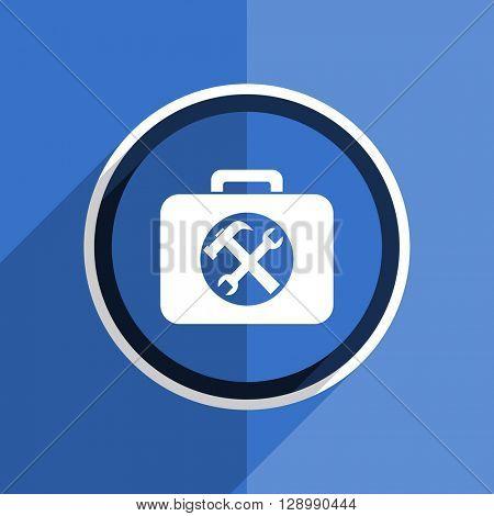 flat design blue toolkit web modern icon