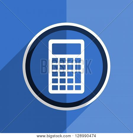flat design blue calculator web modern icon