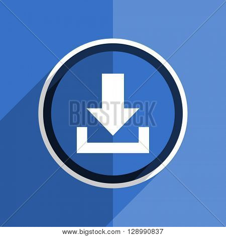 flat design blue download web modern icon