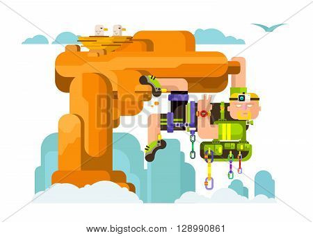 Solo climber. Extreme outdoor climb, risk mountaineer, camera and lead, clock and climbing shoes, backpack and quickdraw, carabiner and harness. Flat vector illustration