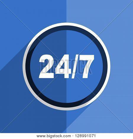 flat design blue 24/7 web modern icon